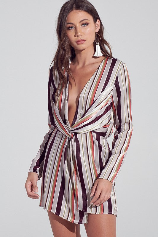 Fashion Multi-Color Striped Deep V-Neck Knot Dress