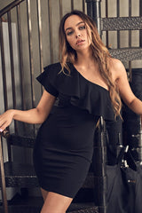 Fashion Black One Shoulder Ruffle Bodycon Dress
