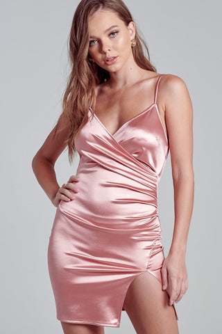 Fashion Mauve Strap Satin Dress