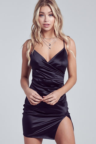 Fashion Black Strap Satin Dress