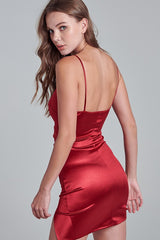 Fashion Red Strap Satin Dress