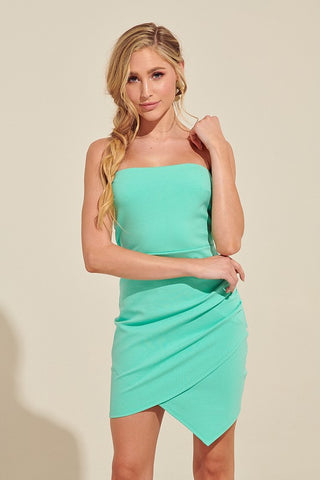 Fashion Mint Strapless Asymmetrical Dress
