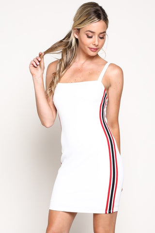 Fashion Strap White Mini Dress Striped Side Detailed