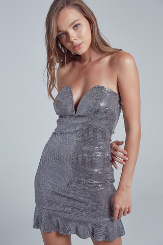 Fashion Strapless Deep Front V-Neck Silver Sequence Ruffle Dress