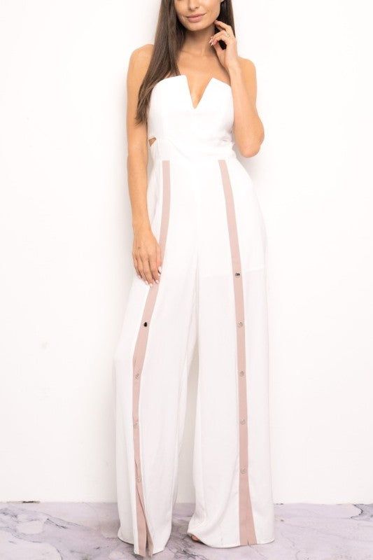 Elegant Strapless Cut Out White Jumpsuit with Snap Buttons