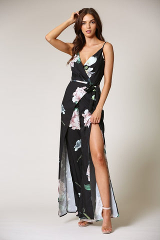 Elegant Floral Print Black Cut Out Jumpsuit