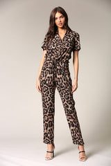 Fashion Animal Print Tie-Up Jumpsuit