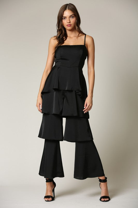 Elegant Strap Black High Waisted Ruffle Layered Satin Jumpsuit