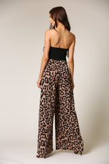 Fashion Strapless Black Corset Tie-Up Animal Print High Waisted Jumpsuit