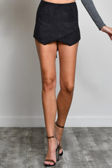 Casual Black Faux Suede Skort