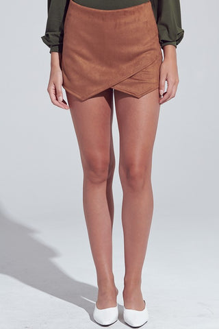 Casual Camel Faux Suede Skort