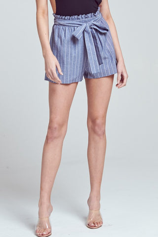 Elegant High Waisted Ruffle Tie-Up Blue White Contrast Shorts