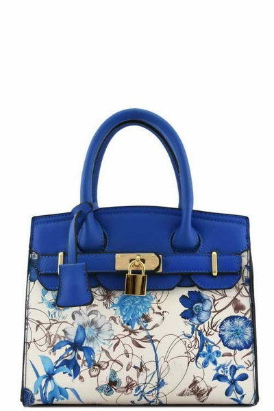 Elegant Blue Floral Mini Tote Bag