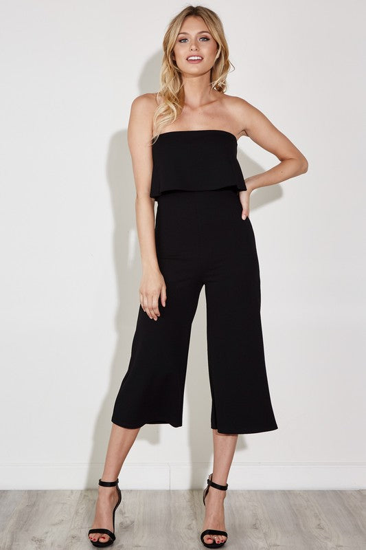 Fashion Ruffle Strapless Black Jumpsuit