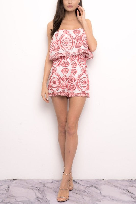 Fashion Strapless Ruffle Red Embroidery Romper