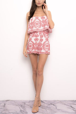 b4d8ef9bf4ad Fashion Strapless Ruffle Red Embroidery Romper