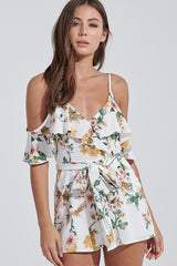 Fashion Strap Ivory Multi-Color Floral Print Tie-Up Ruffle Sleeveless Romper