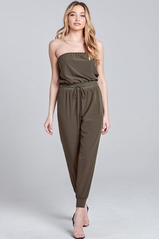 Elegant Strapless Military Green Tie-Up Jagger Jumpsuit