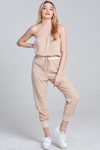 Elegant Strapless Beige Tie-Up Jagger Jumpsuit
