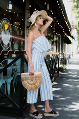Summer Marine Striped Strapless Top