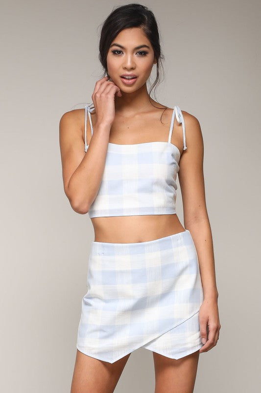 Fashion Marine Checkered Detailed Blue Skort