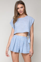 Fashion Summer Blue Marine Red Striped Detailed Side Tie-Up Crop Top
