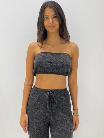 Fashion Black Strapless Crochet Crop Top