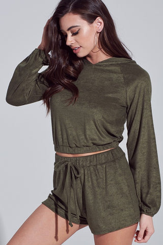 Fashion Olive Crop Sweater with Bell Sleeve