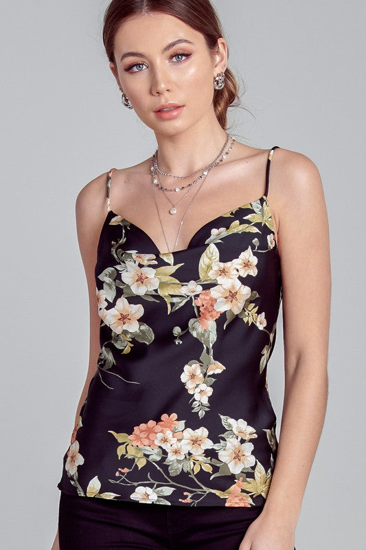 Elegant Strap V-Neck Black Multi-Color Floral Print Top