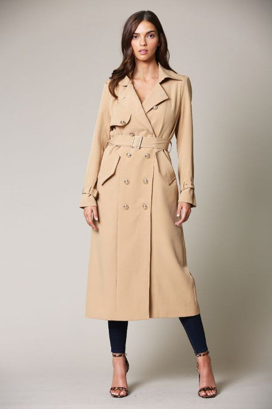 Elegant Taupe Collar Button Tie-Up Trench Coat