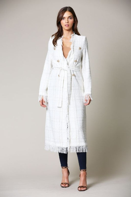Elegant White Gold Textured Detail Tie-Up Coat