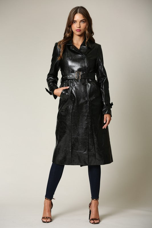 Elegant Black Faux Alligator Collar Button Tie-Up Trench Coat