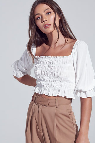 Fashion Off White Off Shoulder Ruffle Crop Top