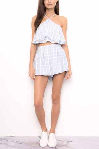 Fashion Blue Checkered Layered Top