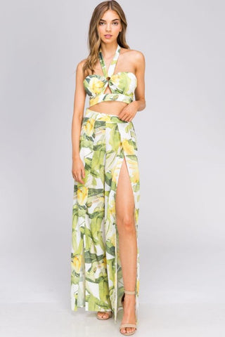 Fashion Summer Multi-Color Banana Leaf Print High Waisted Cut-Out Pants