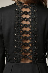 Elegant Black Couture Ruffle Jacket with Back Lace Detailed