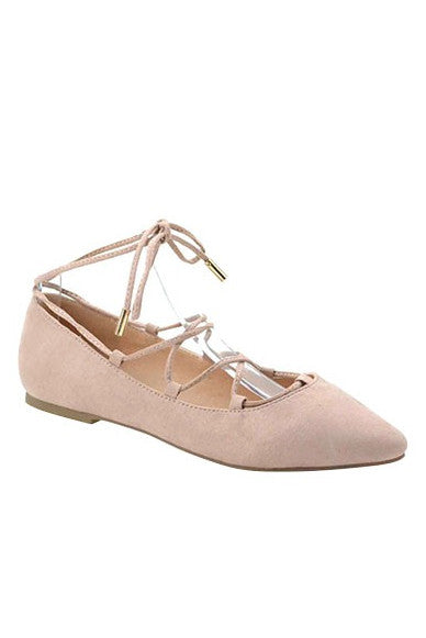 Beige Suede Lace Up Pointy Flat