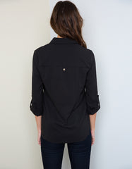 Black Elegant Blouse with Gold Button