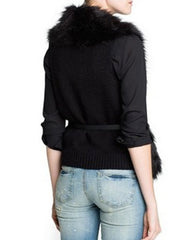 Black Fur Gilet Outerwear Vest Belted