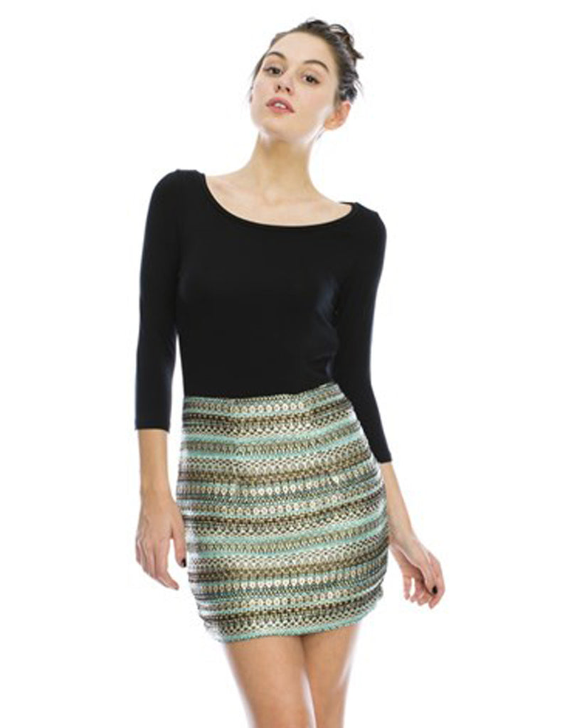 Black Top With Jacquard Gold Mint Textured Skirt