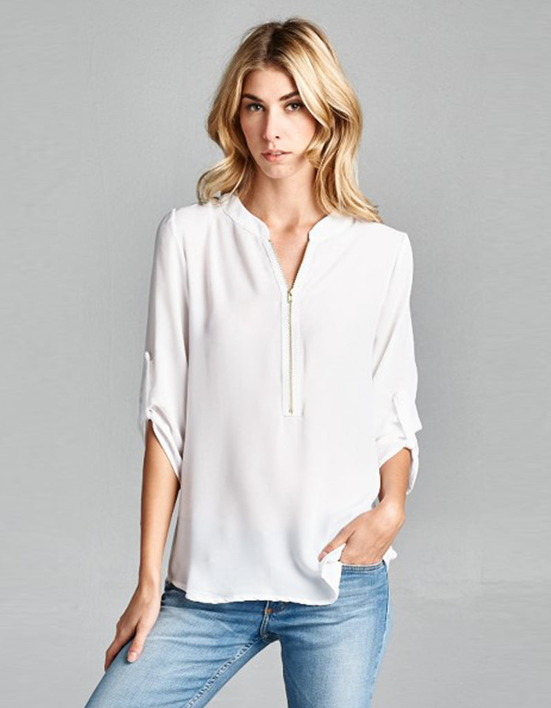 Blouse with Decorative Zipper