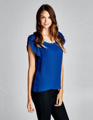 Blue Blouse with Pearl Neckline