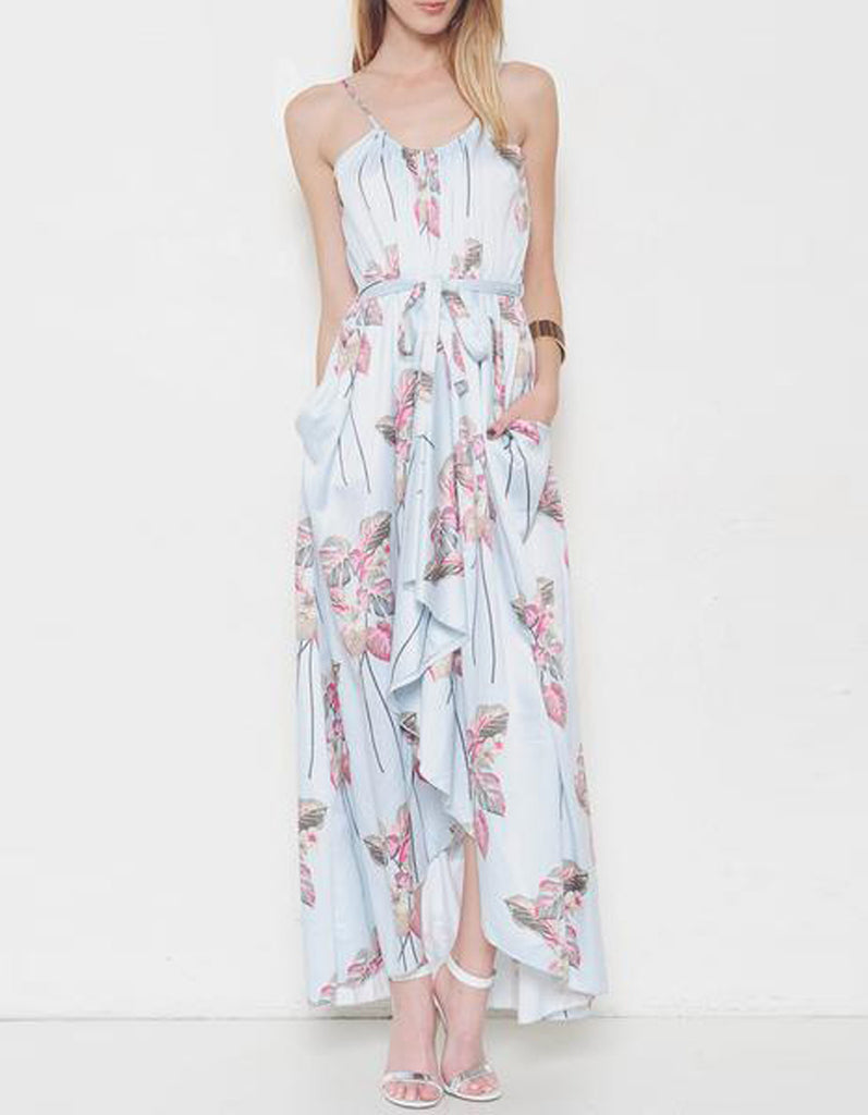Blue Summer Floral Maxi Dress
