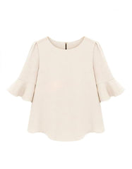 Fashion Ruffle Loose Blouse White