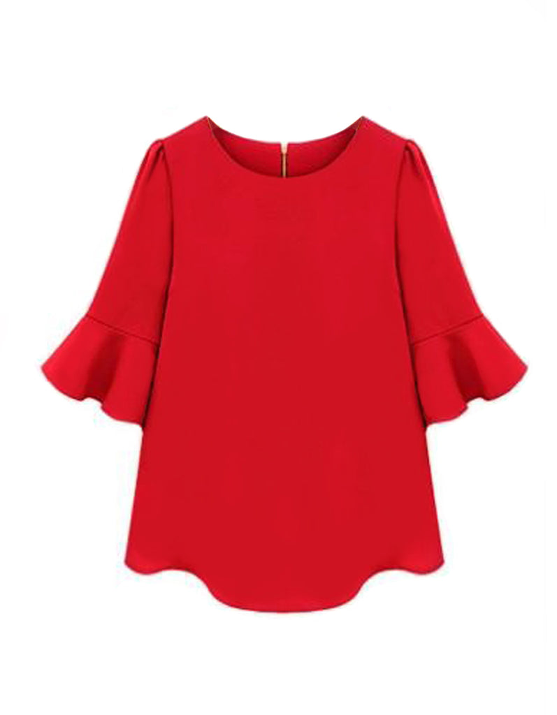 Fashion Ruffle Loose Red Blouse