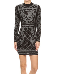 Bodycon Black Dress with Silver Studded