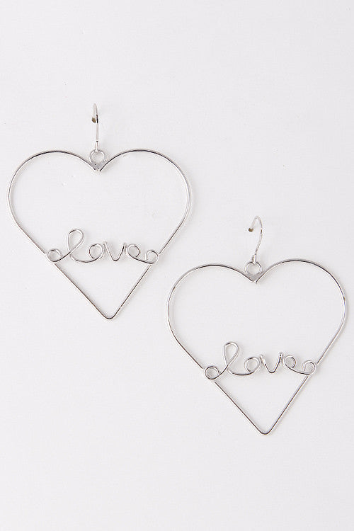 Fashion Heart With Love ID Silver Earring