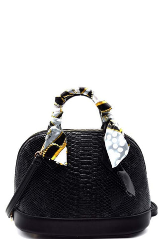 Fashion Animal Print Black Round Satchel Mini Bag with Scarf