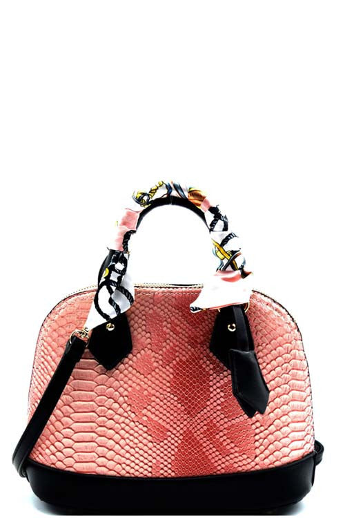 Fashion Animal Print Pink Round Satchel Mini Bag with Scarf
