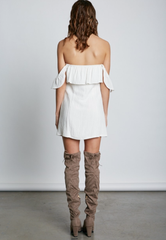 Summer Off Shoulder White Button Down Dress